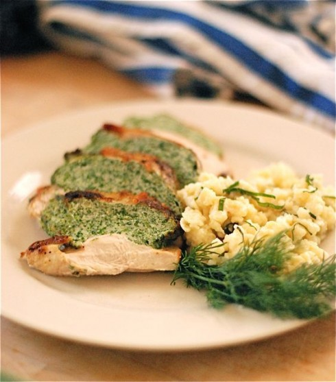 Local Organic Spinach Stuffed Chicken & Herbed Spaetzle