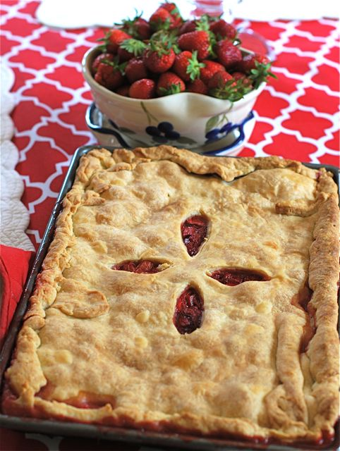 Strawberry Rhubarb Slab Pie | The Naptime Chef