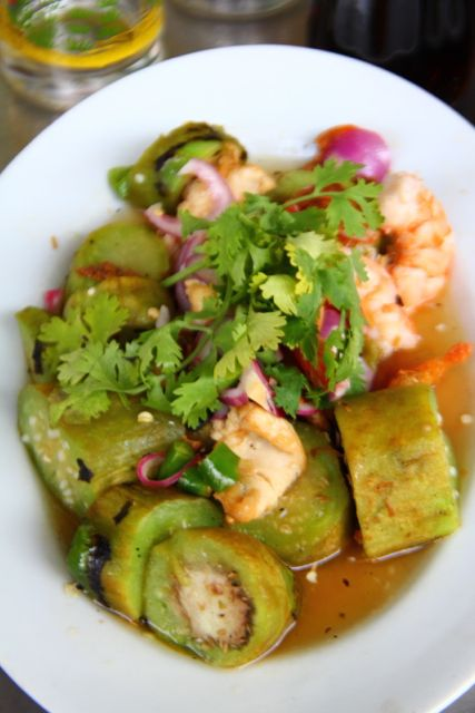 Smoked Eggplant Salad with Shrimp in Thailand via The Naptime Chef