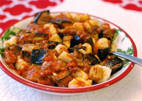 Ricotta Gnocchi with Eggplant Tomato & Mozzarella via The Naptime Chef