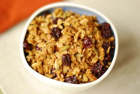 Pumpkin Granola with Dried Cherries via The Naptime Chef