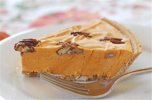 Pumpkin Ice Cream Pie with Maple Glazed Pecans