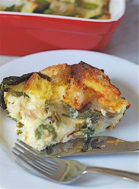 Overnight Asparagus and Mushroom Strata via The Naptime Chef