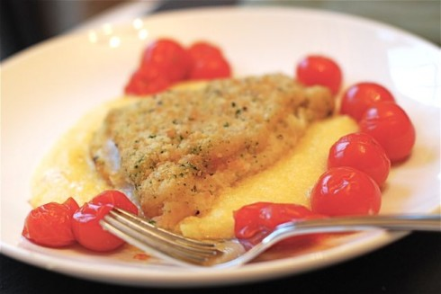 Herbed Cod with Polenta and Tomatoes