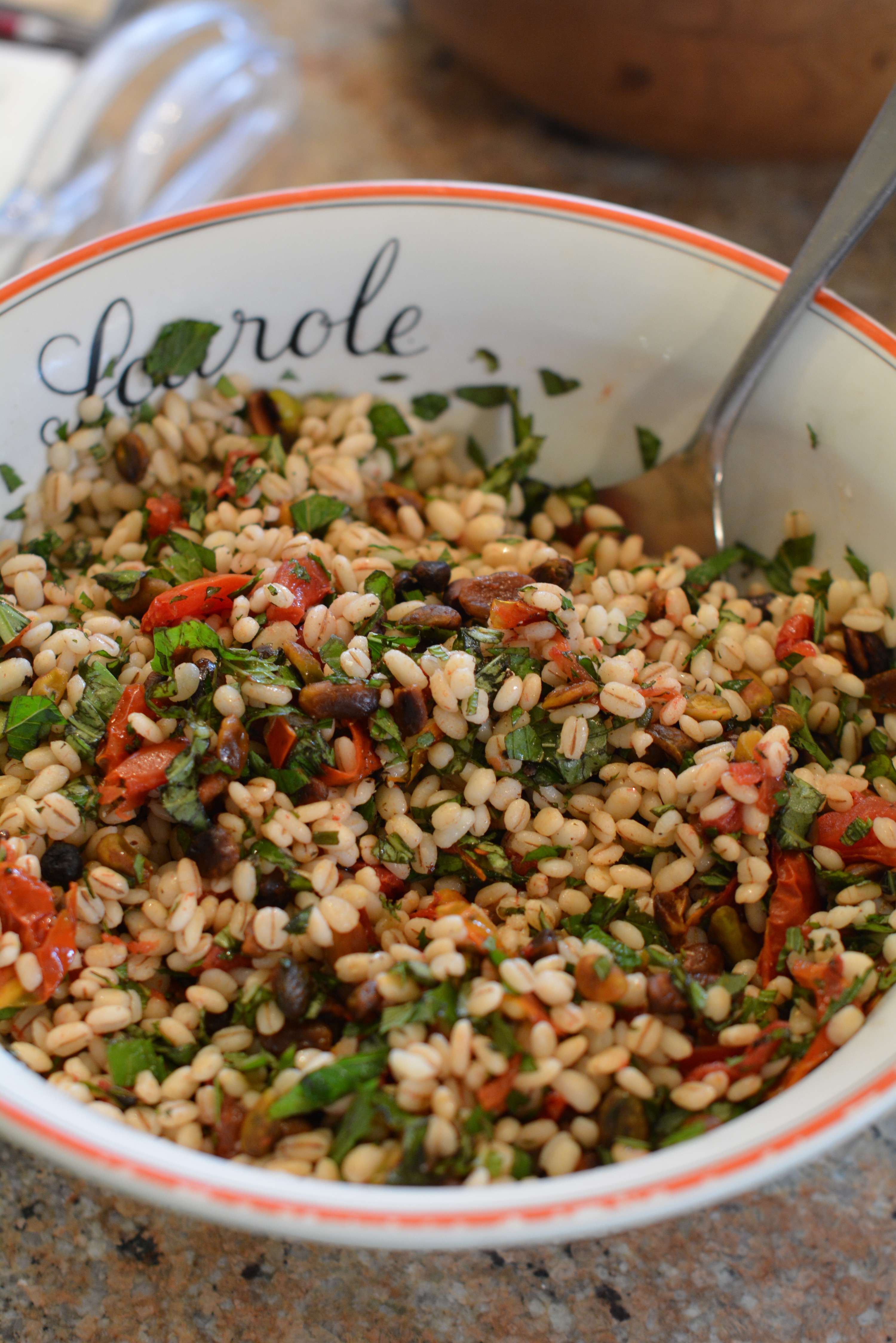 Slow-Roasted Tomato, Farro & Pistachio Salad